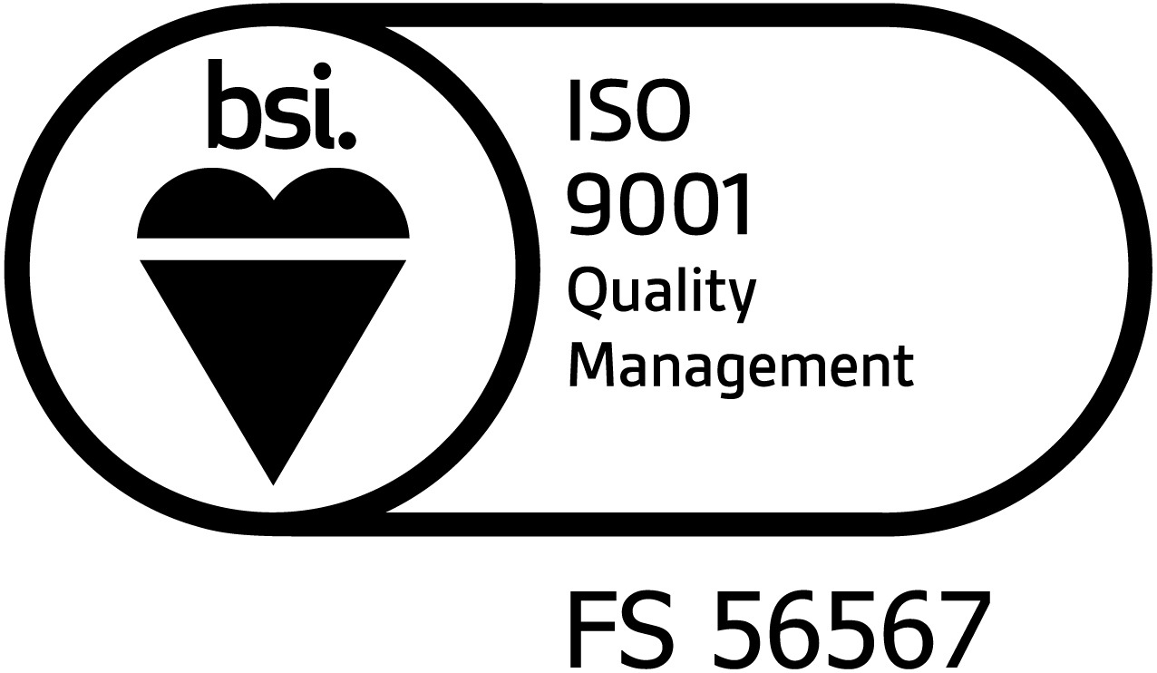 Black BSI Assurance Mark ISO 9001 with cert number